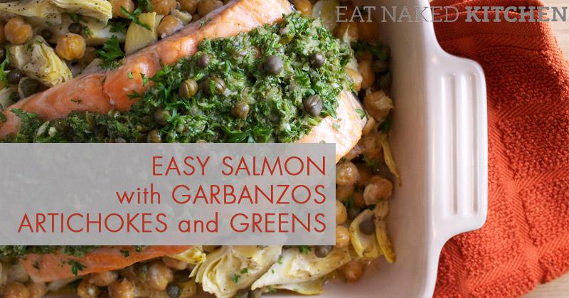 Easy Salmon with Garbanzos, Artichokes and Greens